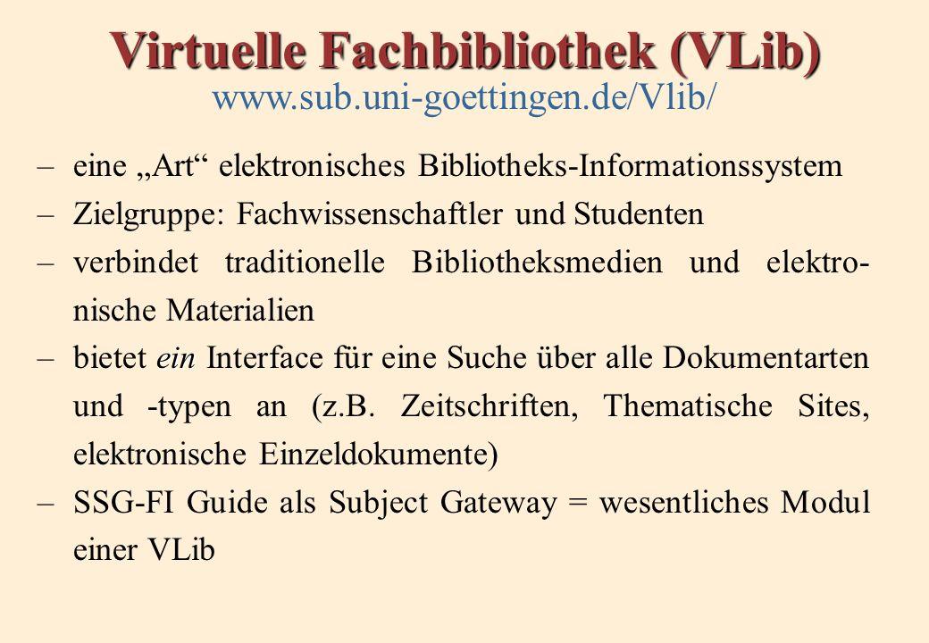 Virtuelle Fachbibliothek (VLib) www.sub.uni-goettingen.de/Vlib/ –eine Art elektronisches Bibliotheks-Informationssystem –Zielgruppe: Fachwissenschaftler und Studenten –verbindet traditionelle Bibliotheksmedien und elektro- nische Materialien ein –bietet ein Interface für eine Suche über alle Dokumentarten und -typen an (z.B.