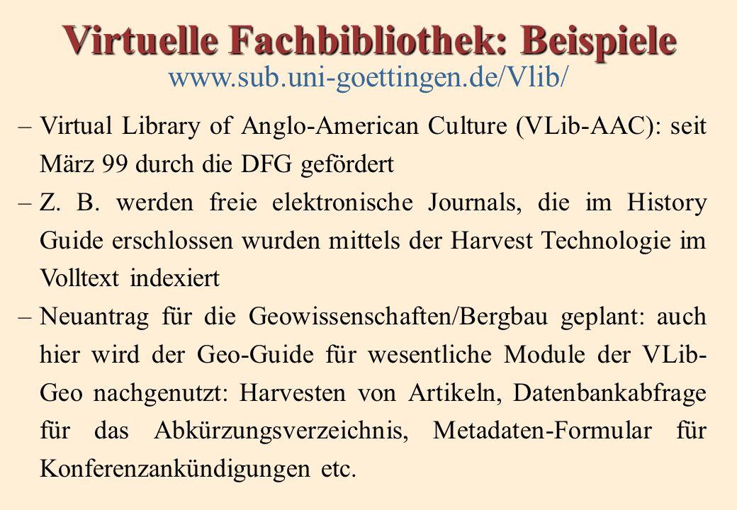 Virtuelle Fachbibliothek: Beispiele www.sub.uni-goettingen.de/Vlib/ –Virtual Library of Anglo-American Culture (VLib-AAC): seit März 99 durch die DFG gefördert –Z.