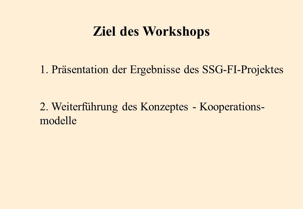 Ziel des Workshops 1. Präsentation der Ergebnisse des SSG-FI-Projektes 2.