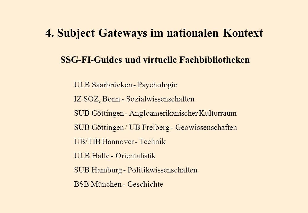 4. Subject Gateways im nationalen Kontext SSG-FI-Guides und virtuelle Fachbibliotheken ULB Saarbrücken - Psychologie IZ SOZ, Bonn - Sozialwissenschaft