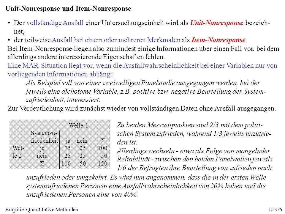 Empirie: Quantitative MethodenL19-17 Gewichtungen Kommerzielle Umfrageinstitute benutzen Redressment, um sogenannte Repräsen- tativgewichte zu erzeugen.