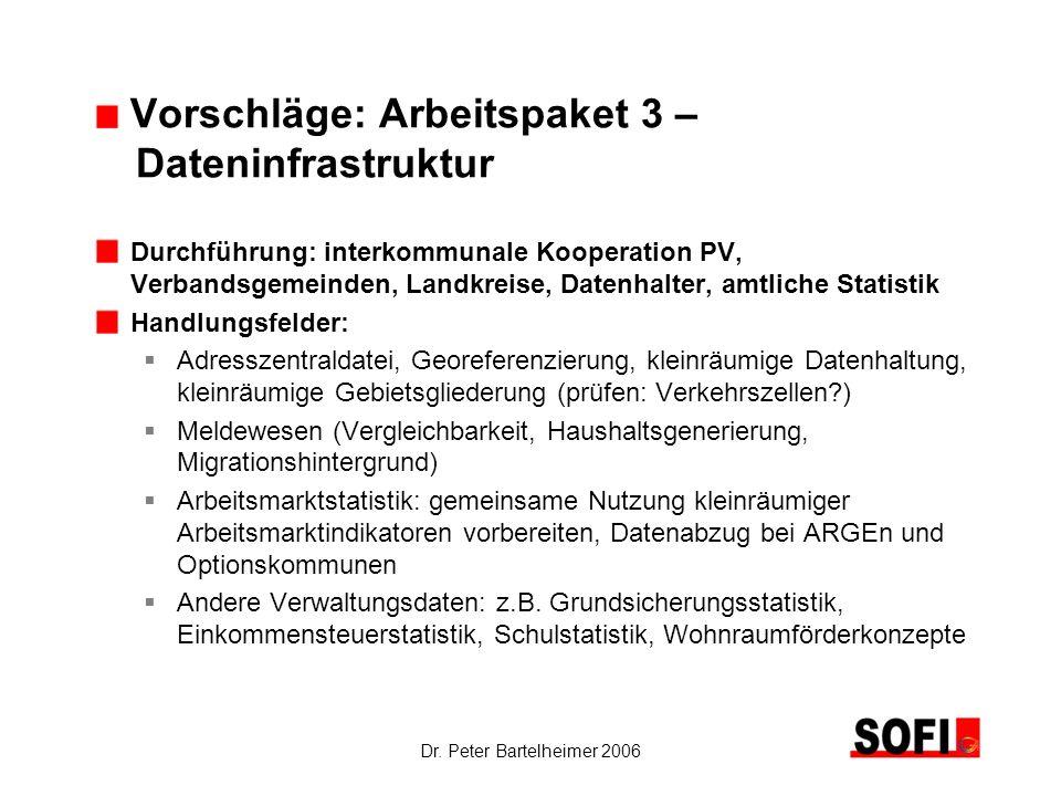 Dr. Peter Bartelheimer 2006 Vorschläge: Arbeitspaket 3 – Dateninfrastruktur Durchführung: interkommunale Kooperation PV, Verbandsgemeinden, Landkreise