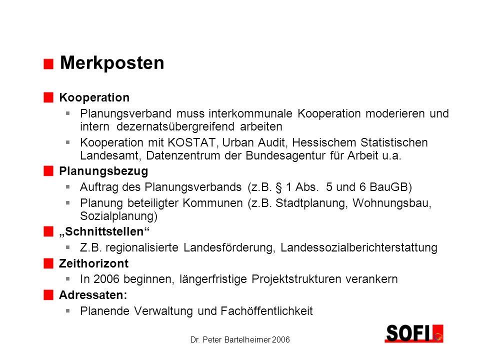 Dr. Peter Bartelheimer 2006 Merkposten Kooperation Planungsverband muss interkommunale Kooperation moderieren und intern dezernatsübergreifend arbeite