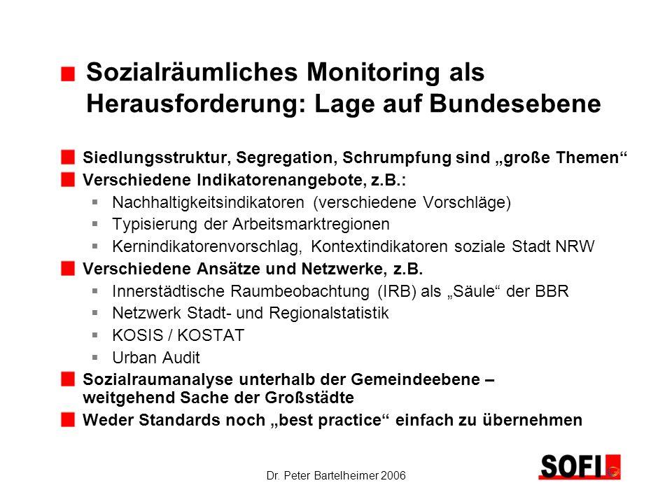 Dr. Peter Bartelheimer 2006 Sozialräumliches Monitoring als Herausforderung: Lage auf Bundesebene Siedlungsstruktur, Segregation, Schrumpfung sind gro