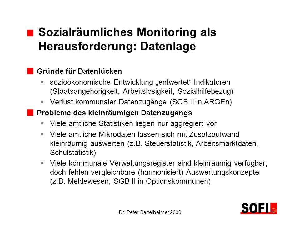 Dr. Peter Bartelheimer 2006 Sozialräumliches Monitoring als Herausforderung: Datenlage Gründe für Datenlücken sozioökonomische Entwicklung entwertet I