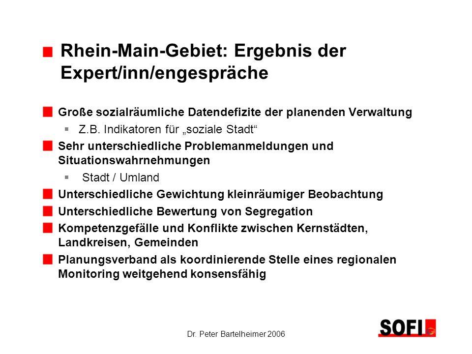 Dr. Peter Bartelheimer 2006 Rhein-Main-Gebiet: Ergebnis der Expert/inn/engespräche Große sozialräumliche Datendefizite der planenden Verwaltung Z.B. I