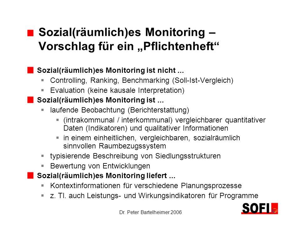 Dr. Peter Bartelheimer 2006 Sozial(räumlich)es Monitoring – Vorschlag für ein Pflichtenheft Sozial(räumlich)es Monitoring ist nicht... Controlling, Ra