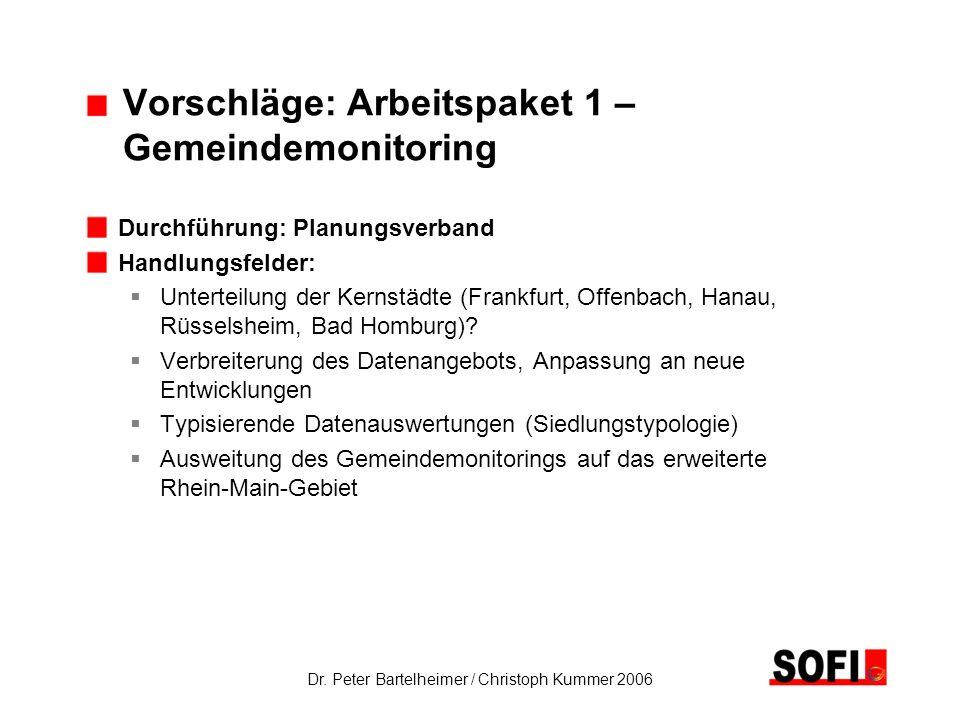 Dr. Peter Bartelheimer / Christoph Kummer 2006 Vorschläge: Arbeitspaket 1 – Gemeindemonitoring Durchführung: Planungsverband Handlungsfelder: Untertei