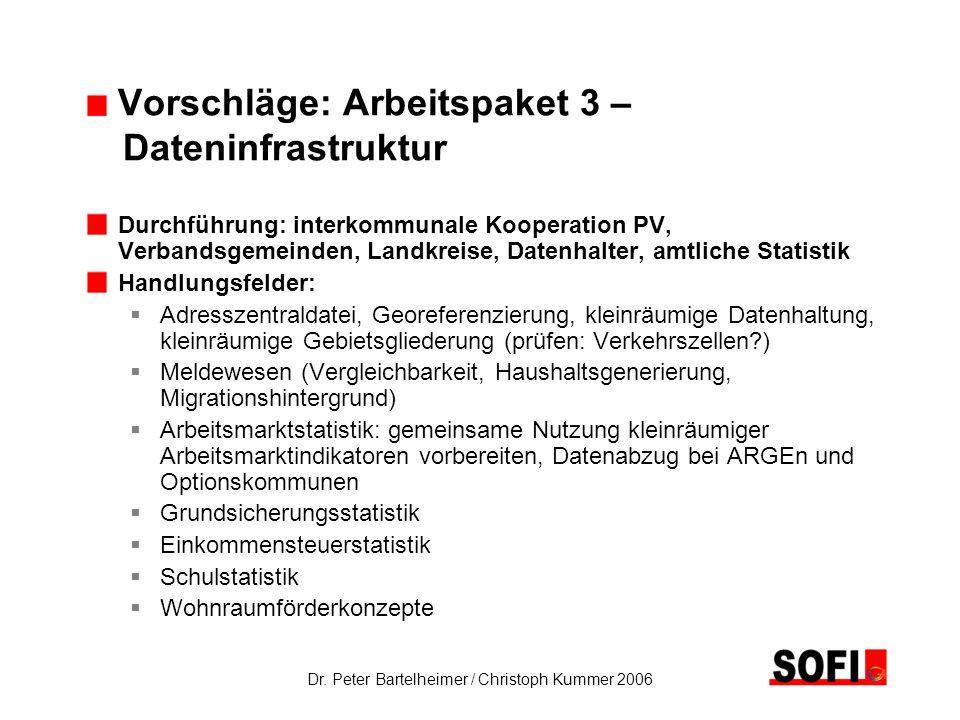 Dr. Peter Bartelheimer / Christoph Kummer 2006 Vorschläge: Arbeitspaket 3 – Dateninfrastruktur Durchführung: interkommunale Kooperation PV, Verbandsge