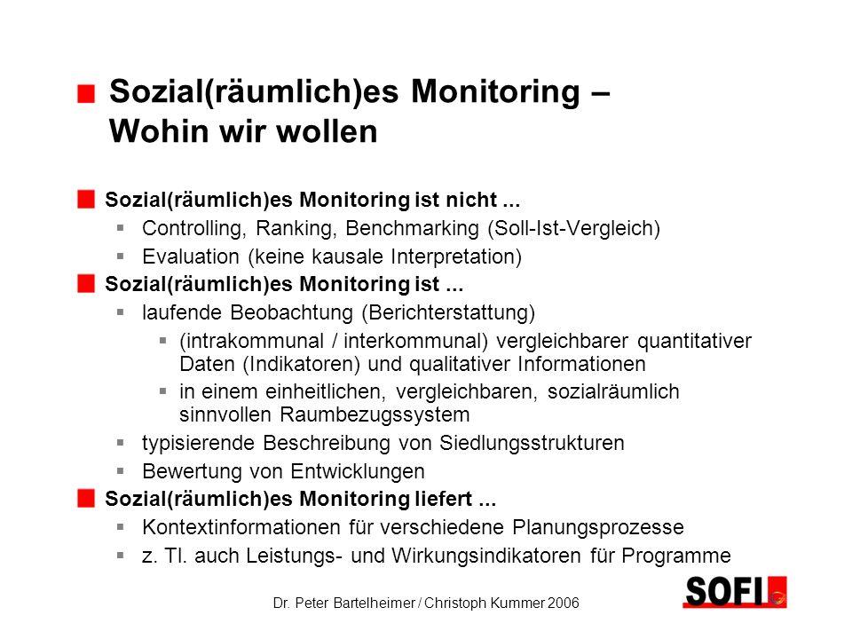 Dr. Peter Bartelheimer / Christoph Kummer 2006 Sozial(räumlich)es Monitoring – Wohin wir wollen Sozial(räumlich)es Monitoring ist nicht... Controlling