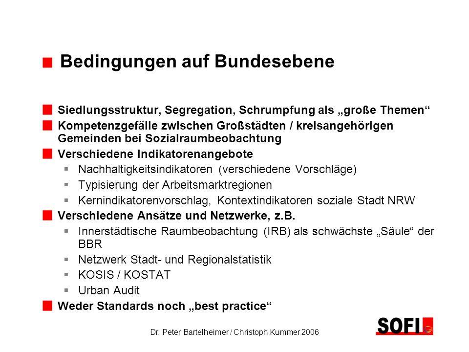 Dr. Peter Bartelheimer / Christoph Kummer 2006 Bedingungen auf Bundesebene Siedlungsstruktur, Segregation, Schrumpfung als große Themen Kompetenzgefäl