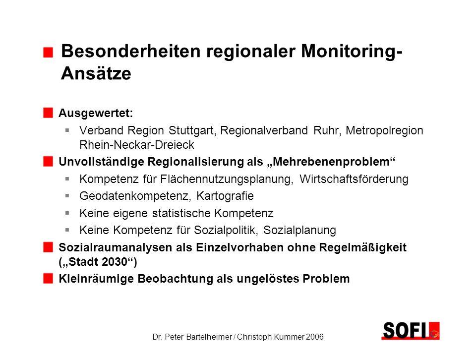 Dr. Peter Bartelheimer / Christoph Kummer 2006 Besonderheiten regionaler Monitoring- Ansätze Ausgewertet: Verband Region Stuttgart, Regionalverband Ru