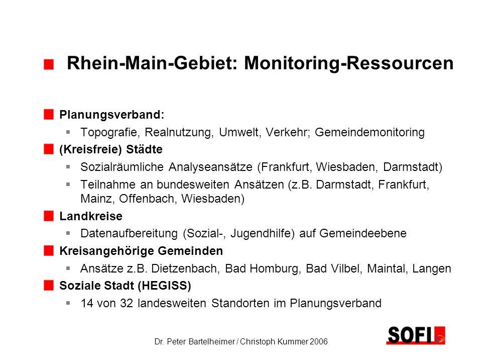 Dr. Peter Bartelheimer / Christoph Kummer 2006 Rhein-Main-Gebiet: Monitoring-Ressourcen Planungsverband: Topografie, Realnutzung, Umwelt, Verkehr; Gem