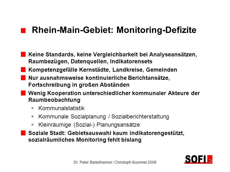 Dr. Peter Bartelheimer / Christoph Kummer 2006 Rhein-Main-Gebiet: Monitoring-Defizite Keine Standards, keine Vergleichbarkeit bei Analyseansätzen, Rau
