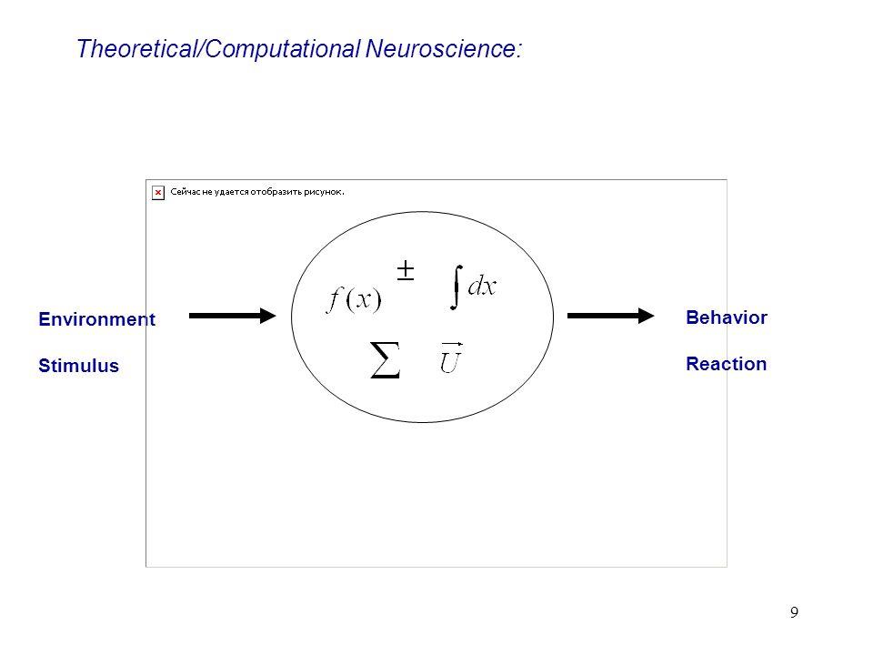 9 Environment Stimulus Theoretical/Computational Neuroscience: Behavior Reaction