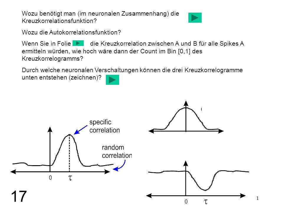 1 Wozu benötigt man (im neuronalen Zusammenhang) die Kreuzkorrelationsfunktion? Wozu die Autokorrelationsfunktion? Wenn Sie in Folie die Kreuzkorrelat