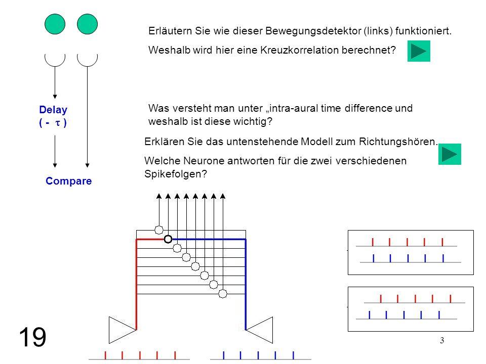 3 Delay ( - ) Compare Erläutern Sie wie dieser Bewegungsdetektor (links) funktioniert. Weshalb wird hier eine Kreuzkorrelation berechnet? Was versteht