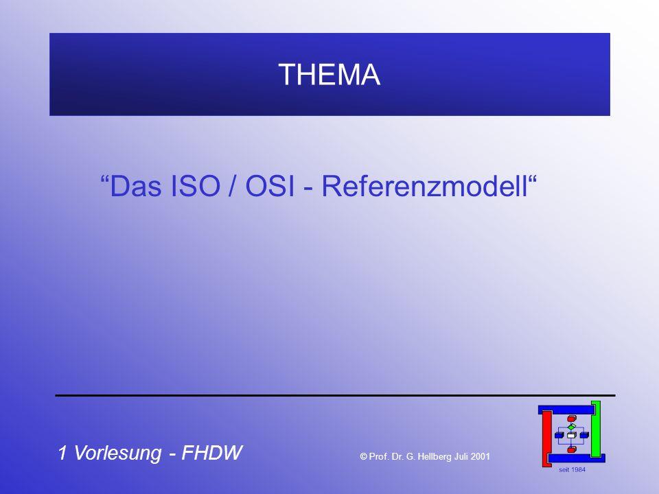 1 Vorlesung - FHDW © Prof. Dr. G. Hellberg Juli 2001 THEMA Das ISO / OSI - Referenzmodell
