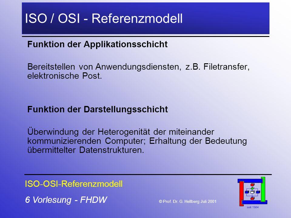 6 Vorlesung - FHDW © Prof. Dr. G. Hellberg Juli 2001 ISO / OSI - Referenzmodell Funktion der Applikationsschicht Bereitstellen von Anwendungsdiensten,