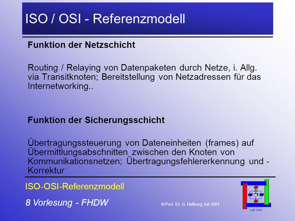 8 Vorlesung - FHDW © Prof. Dr. G. Hellberg Juli 2001 ISO / OSI - Referenzmodell Funktion der Netzschicht Routing / Relaying von Datenpaketen durch Net