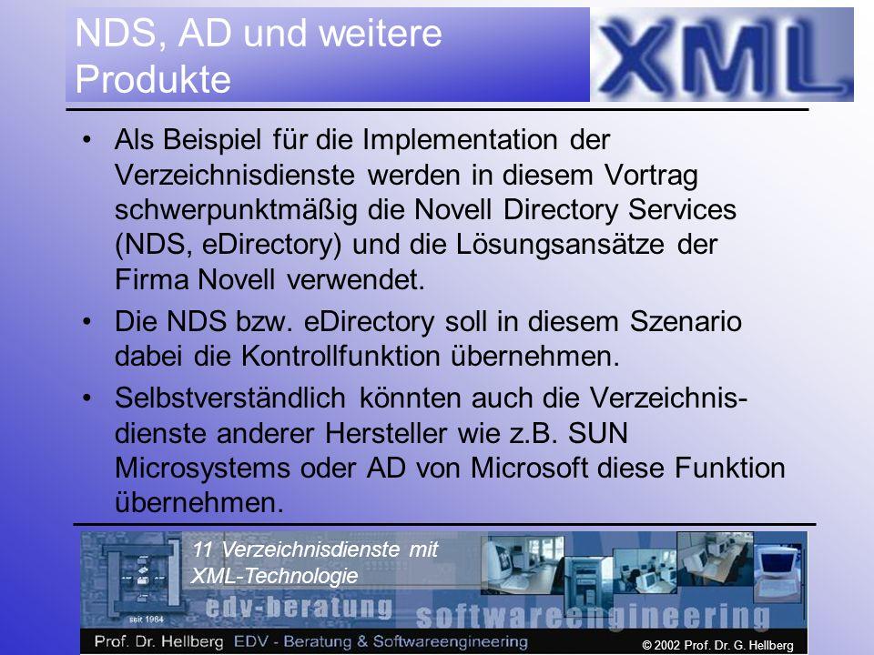 © 2002 Prof. Dr. G. Hellberg 11 Verzeichnisdienste mit XML-Technologie NDS, AD und weitere Produkte Als Beispiel für die Implementation der Verzeichni