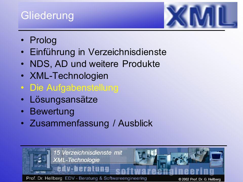 © 2002 Prof. Dr. G. Hellberg 15 Verzeichnisdienste mit XML-Technologie Gliederung Prolog Einführung in Verzeichnisdienste NDS, AD und weitere Produkte