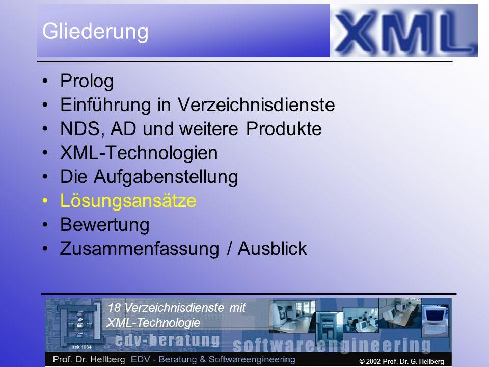 © 2002 Prof. Dr. G. Hellberg 18 Verzeichnisdienste mit XML-Technologie Gliederung Prolog Einführung in Verzeichnisdienste NDS, AD und weitere Produkte