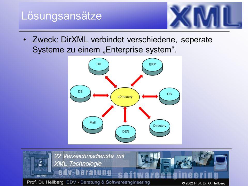 © 2002 Prof. Dr. G. Hellberg 22 Verzeichnisdienste mit XML-Technologie Lösungsansätze Zweck: DirXML verbindet verschiedene, seperate Systeme zu einem