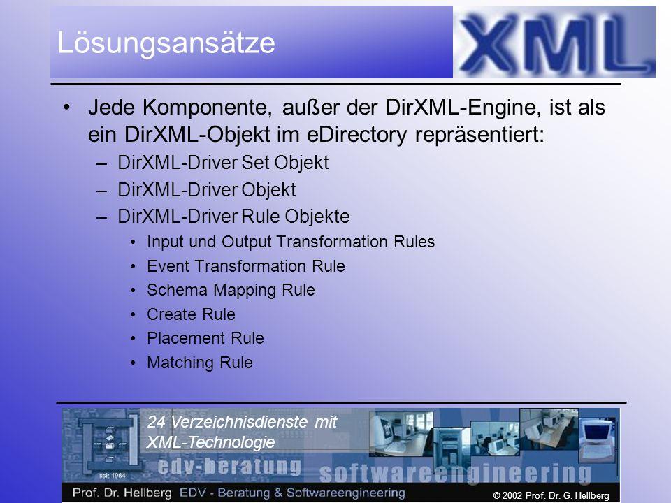 © 2002 Prof. Dr. G. Hellberg 24 Verzeichnisdienste mit XML-Technologie Lösungsansätze Jede Komponente, außer der DirXML-Engine, ist als ein DirXML-Obj