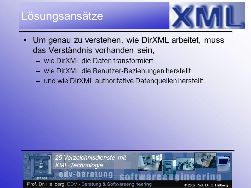 © 2002 Prof. Dr. G. Hellberg 25 Verzeichnisdienste mit XML-Technologie Lösungsansätze Um genau zu verstehen, wie DirXML arbeitet, muss das Verständnis