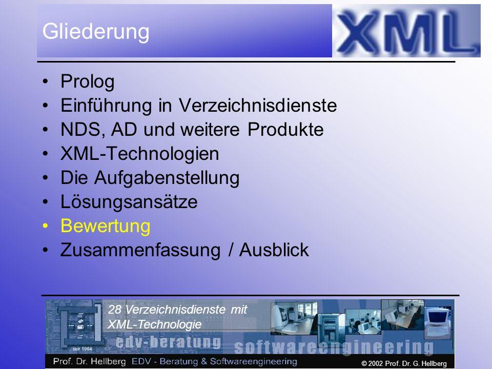 © 2002 Prof. Dr. G. Hellberg 28 Verzeichnisdienste mit XML-Technologie Gliederung Prolog Einführung in Verzeichnisdienste NDS, AD und weitere Produkte