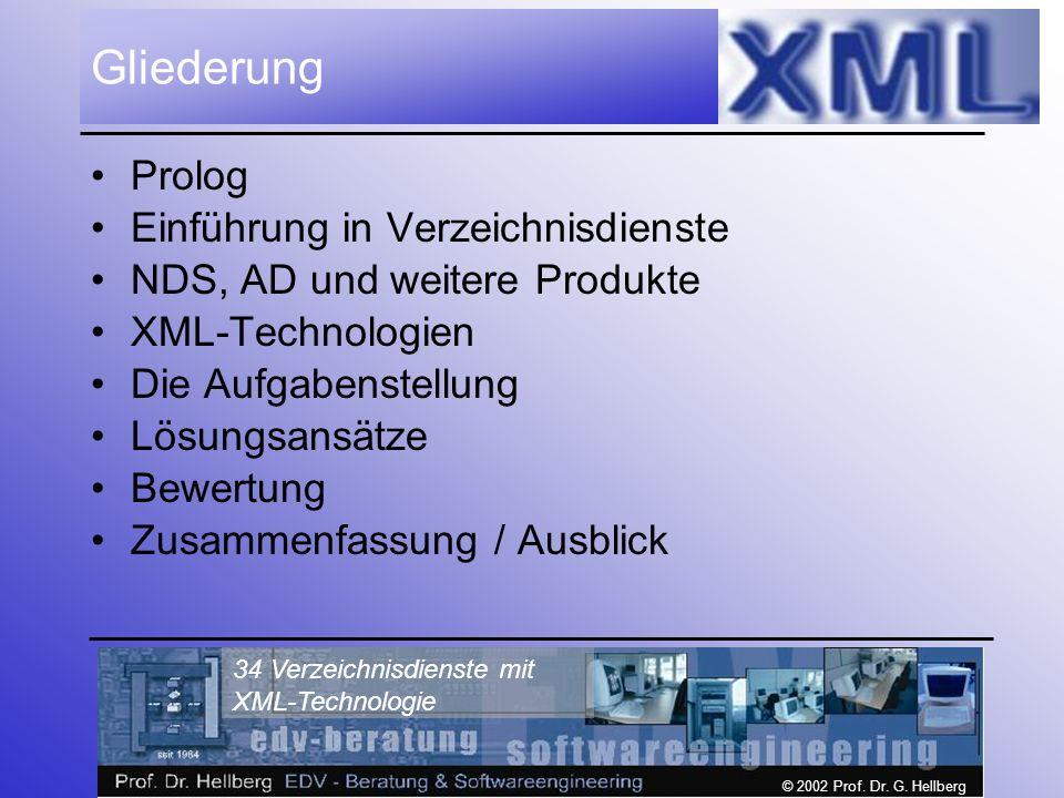 © 2002 Prof. Dr. G. Hellberg 34 Verzeichnisdienste mit XML-Technologie Gliederung Prolog Einführung in Verzeichnisdienste NDS, AD und weitere Produkte