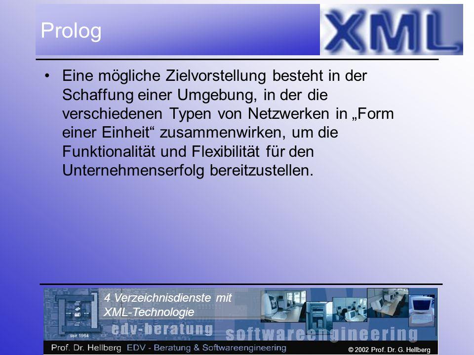 © 2002 Prof. Dr. G. Hellberg 4 Verzeichnisdienste mit XML-Technologie Prolog Eine mögliche Zielvorstellung besteht in der Schaffung einer Umgebung, in