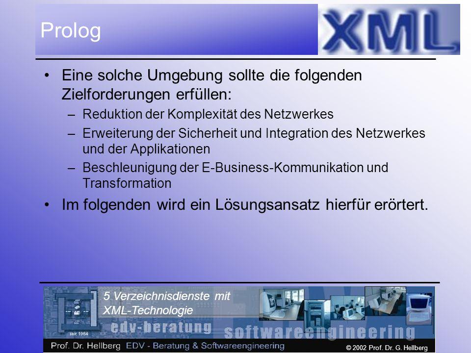 © 2002 Prof. Dr. G. Hellberg 5 Verzeichnisdienste mit XML-Technologie Prolog Eine solche Umgebung sollte die folgenden Zielforderungen erfüllen: –Redu