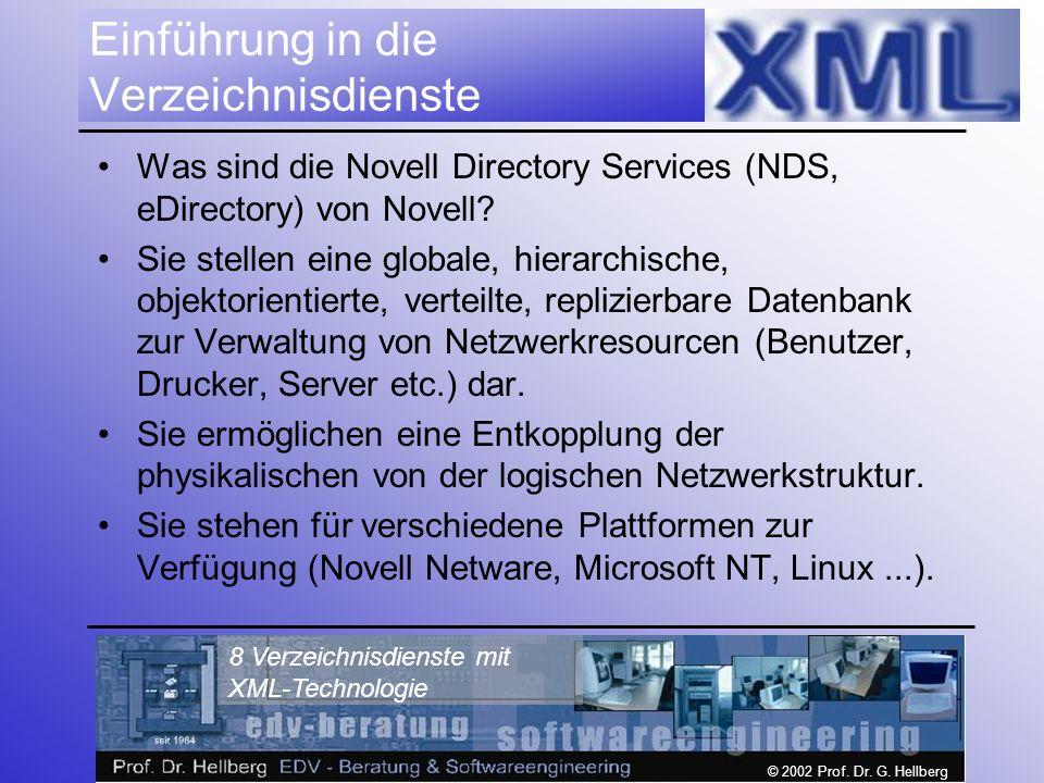 © 2002 Prof. Dr. G. Hellberg 8 Verzeichnisdienste mit XML-Technologie Einführung in die Verzeichnisdienste Was sind die Novell Directory Services (NDS