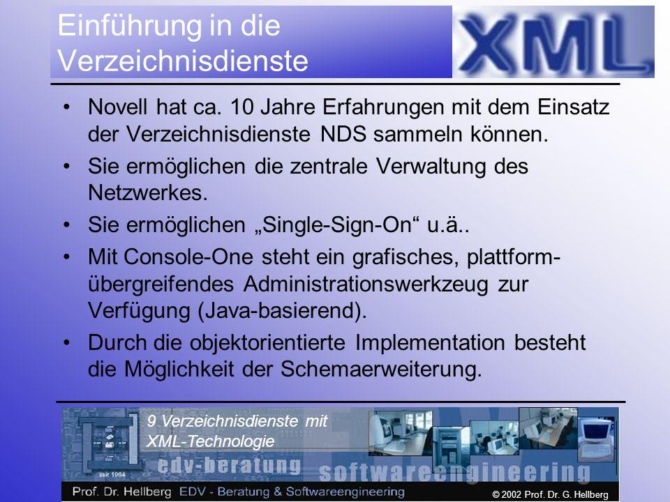 © 2002 Prof. Dr. G. Hellberg 9 Verzeichnisdienste mit XML-Technologie Einführung in die Verzeichnisdienste Novell hat ca. 10 Jahre Erfahrungen mit dem