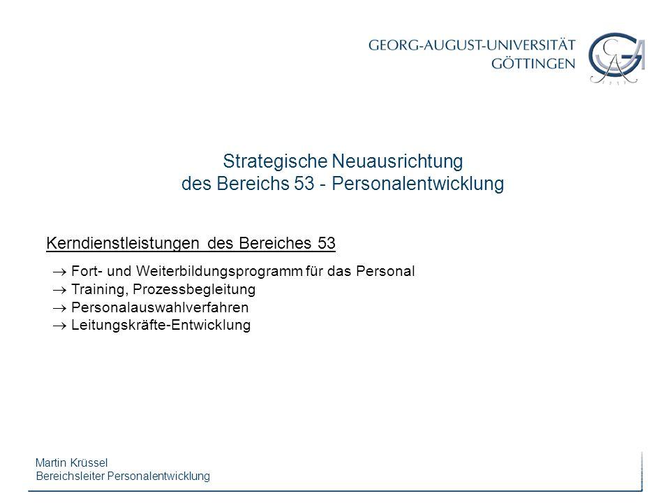Martin Krüssel Bereichsleiter Personalentwicklung Kerndienstleistungen des Bereiches 53 Fort- und Weiterbildungsprogramm für das Personal Training, Pr