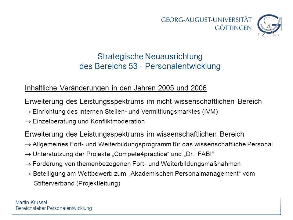 Martin Krüssel Bereichsleiter Personalentwicklung Strategische Neuausrichtung des Bereichs 53 - Personalentwicklung Inhaltliche Veränderungen in den J