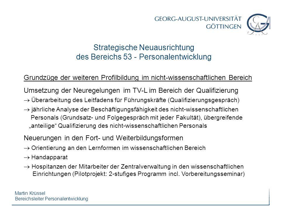 Martin Krüssel Bereichsleiter Personalentwicklung Strategische Neuausrichtung des Bereichs 53 - Personalentwicklung Grundzüge der weiteren Profilbildu