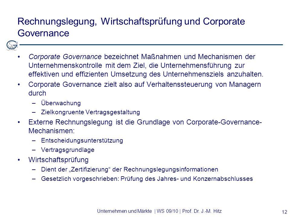 Unternehmen und Märkte | WS 09/10 | Prof. Dr. J.-M. Hitz Rechnungslegung, Wirtschaftsprüfung und Corporate Governance Corporate Governance bezeichnet