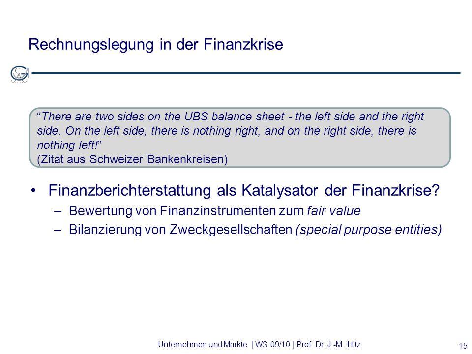 Unternehmen und Märkte | WS 09/10 | Prof. Dr. J.-M. Hitz Rechnungslegung in der Finanzkrise Finanzberichterstattung als Katalysator der Finanzkrise? –