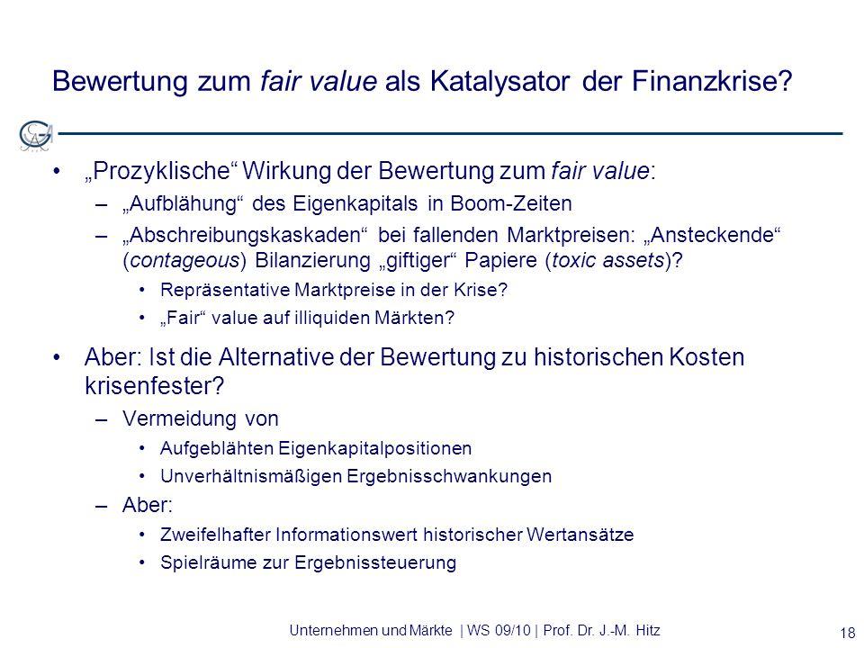 Unternehmen und Märkte | WS 09/10 | Prof. Dr. J.-M. Hitz Bewertung zum fair value als Katalysator der Finanzkrise? Prozyklische Wirkung der Bewertung