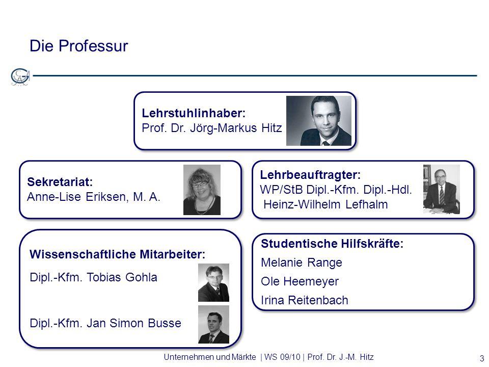 Unternehmen und Märkte | WS 09/10 | Prof. Dr. J.-M. Hitz Die Professur 3 Lehrstuhlinhaber: Prof. Dr. Jörg-Markus Hitz Lehrstuhlinhaber: Prof. Dr. Jörg