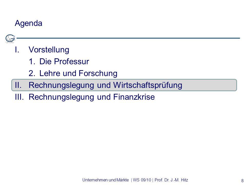 Unternehmen und Märkte | WS 09/10 | Prof. Dr. J.-M. Hitz Agenda I.Vorstellung 1.Die Professur 2. Lehre und Forschung II.Rechnungslegung und Wirtschaft
