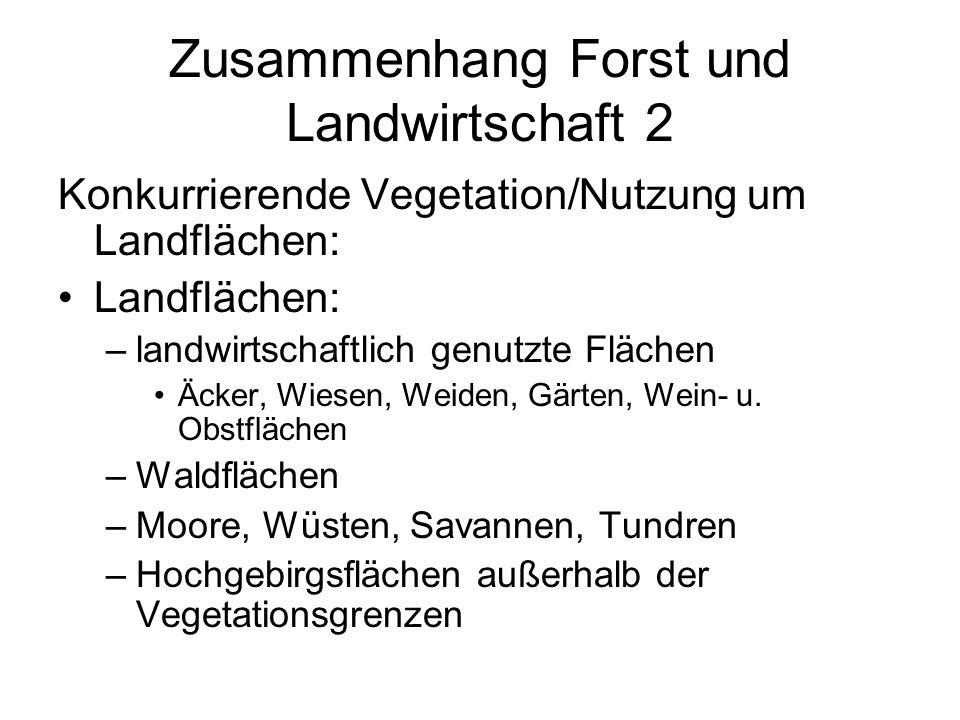 Zusammenhang Forst und Landwirtschaft 2 Konkurrierende Vegetation/Nutzung um Landflächen: Landflächen: –landwirtschaftlich genutzte Flächen Äcker, Wie