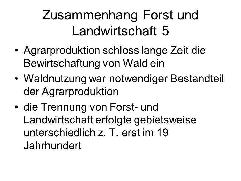 Zusammenhang Forst und Landwirtschaft 5 Agrarproduktion schloss lange Zeit die Bewirtschaftung von Wald ein Waldnutzung war notwendiger Bestandteil de