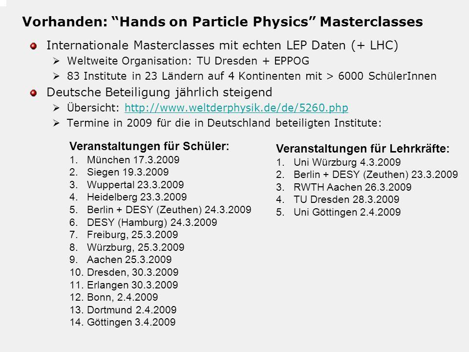 Vorhanden: Hands on Particle Physics Masterclasses Internationale Masterclasses mit echten LEP Daten (+ LHC) Weltweite Organisation: TU Dresden + EPPO