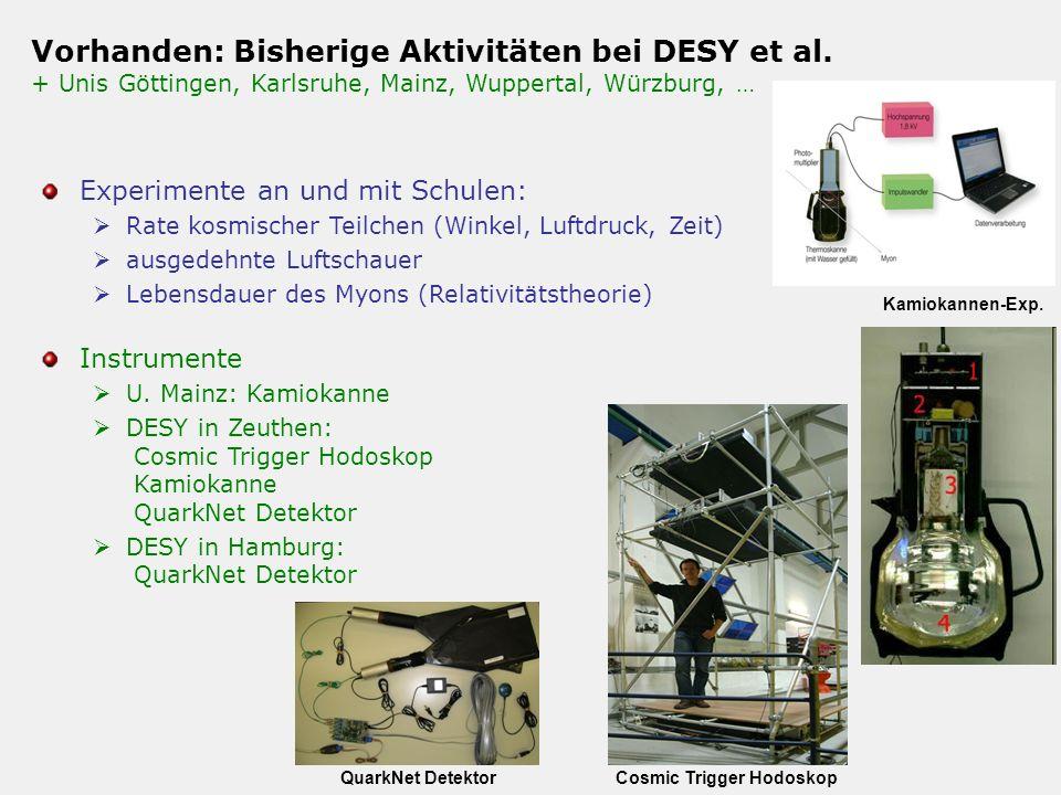 Vorhanden: Bisherige Aktivitäten bei DESY et al. + Unis Göttingen, Karlsruhe, Mainz, Wuppertal, Würzburg, … Experimente an und mit Schulen: Rate kosmi