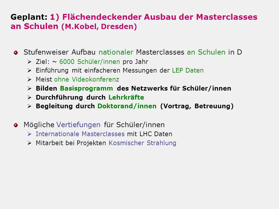 2) Experimente zur kosmischen Strahlung an Schulen (A.Lindner + M.Walter, DESY) Weiterer Ausbau/Aufbau von Zentren für Schüler-Experimente DESY in Zeuthen und Hamburg, Unis Göttingen, Karlsruhe, Mainz, Wuppertal, Würzburg, (Erlangen?, GSI?, München.