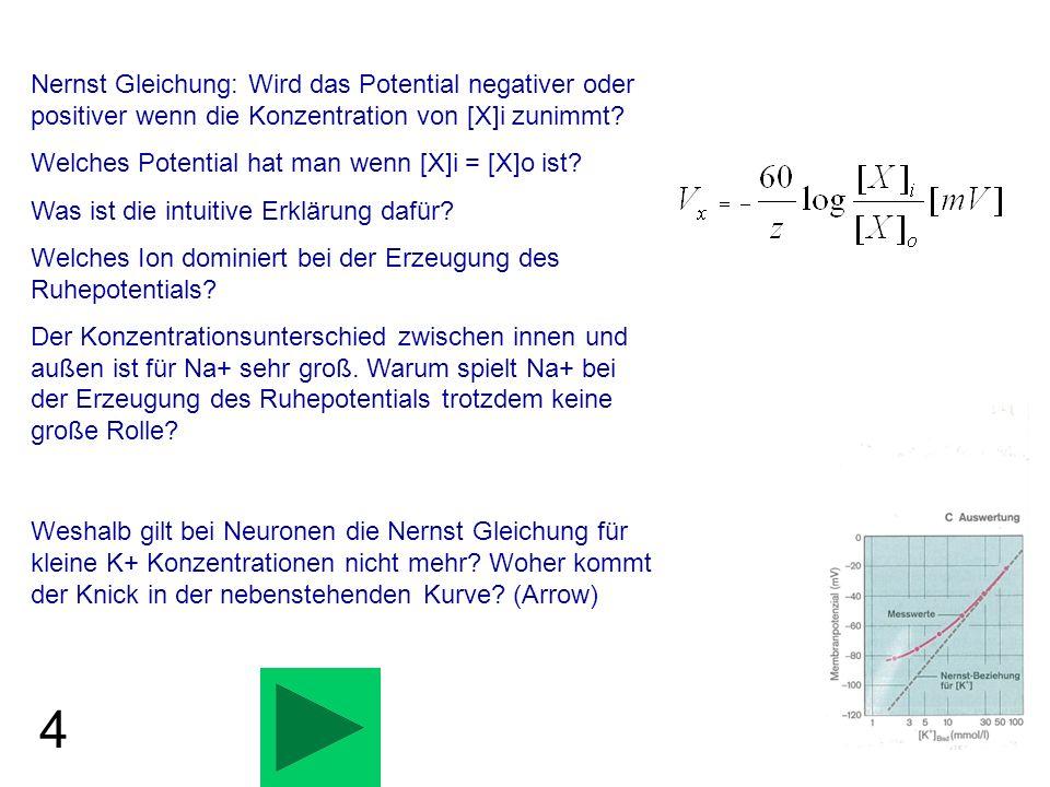 2 Berechnen Sie Vm für den folgenden Fall: PK=10, PNa=1 [K]i=400 mM, [K]o=4 mM, [Na]i=5 mM [Na]o=200 mM.